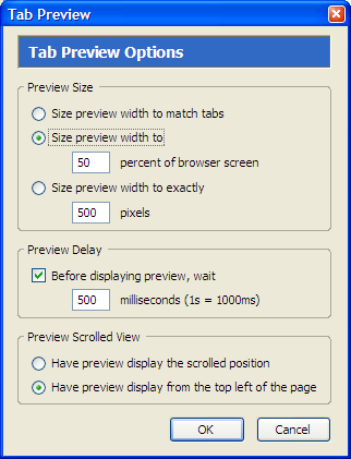 Mozilla Firefox Extension Tab Preview
